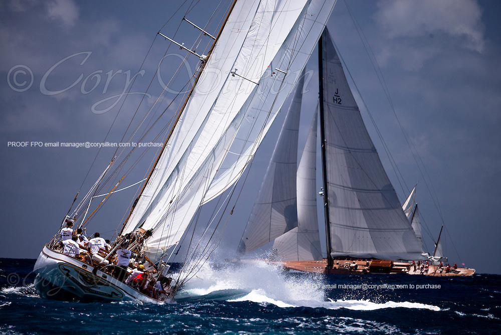 Ticonderoga sailing in the Old Road Race of the Antigua Classic Yacht Regatta.
