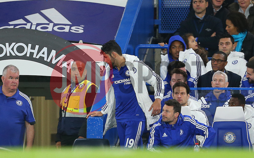 Diego Costa of Chelsea walks down the tunnel shortly after he is substituted during the match - Mandatory byline: Paul Terry/JMP - 07966 386802 - 19/12/2015 - FOOTBALL - Stamford Bridge - London, England - Chelsea v Sunderland - Barclays Premier League