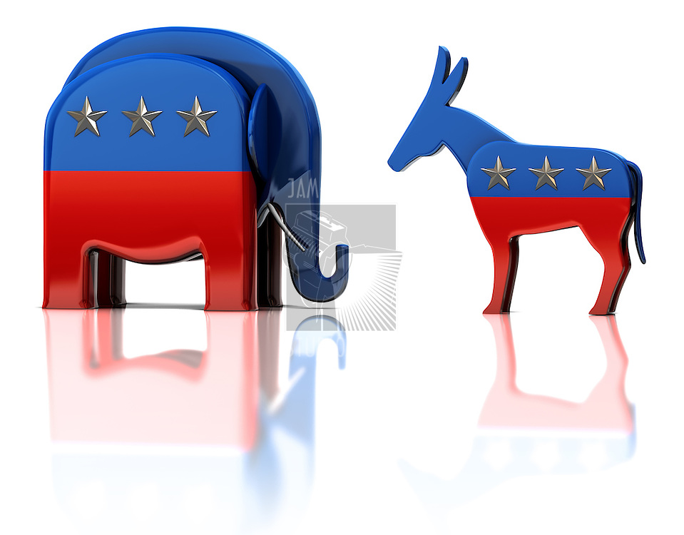 The Republican and Democratic party mascots isolated on white reflective surface