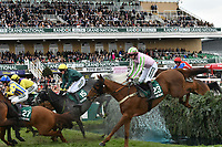 National Hunt Horse Racing - 2019 Randox Health Grand National Festival - Friday, Day Two (Ladies Day)<br /> <br />  M A Enright on no 23 Call It Magic & Thomas Bellamy on no 15 Flying Angel in the foreground jump the Water Jump <br /> in the 16:05 Randox Health Topham Handicap Chase (Grade 3) (National Course)) at Aintree Racecourse.<br /> <br /> COLORSPORT/WINSTON BYNORTH
