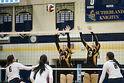 Alyssa Coates, left, and Makenna Graney of Honeoye Falls-Lima defend during a match against Pittsford Sutherland in Pittsford on Thursday, September 15, 2016.