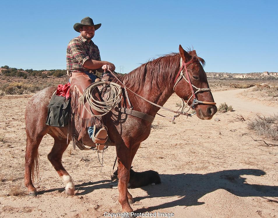 Richards family cowhand John Wayne on his horse Empty.