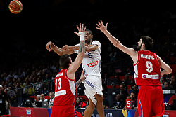 12.09.2014, City Arena, Madrid, ESP, FIBA WM, Frankreich vs Serbien, Halbfinale, im Bild France´s Batum (C) and Serbia´s Raduljica and Markovic // during FIBA Basketball World Cup Spain 2014 semifinal match between France and Serbia at the City Arena in Madrid, Spain on 2014/09/12. EXPA Pictures © 2014, PhotoCredit: EXPA/ Alterphotos/ Victor Blanco<br /> <br /> *****ATTENTION - OUT of ESP, SUI*****