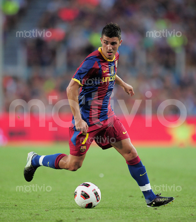 FUSSBALL  INTERNATIONAL   SAISON 2010/2011   25.08.2010 Gamper Cup FC Barcelona - AC Mailand David Villa (Barca)  am Ball