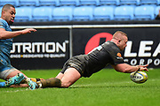 Wasps hooker Tom Cruse (2) scores a try (his second) during the Aviva Premiership match between Wasps and London Irish at the Ricoh Arena, Coventry, England on 4 March 2018. Picture by Dennis Goodwin.