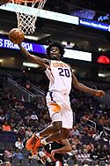 Oct 11, 2017; Phoenix, AZ, USA; Phoenix Suns forward Josh Jackson (20) drives the ball to the basket against the Portland Trail Blazers in the first half at Talking Stick Resort Arena. Mandatory Credit: Jennifer Stewart-USA TODAY Sports