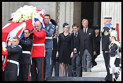 Baroness Thatcher's family behind her coffin as it's leaves  St.Paul's Cathedral in London , Wednesday 17th  April 2013 Photo by: Stephen Lock / i-Images<br /> <br /> File photo - One year ago: Baroness Thatcher died.<br /> On Tue, Apr 8 2014 it will be one year since the Longest-serving UK Prime Minister of the 20th century, the first and only woman to serve in the role to date, died on April 8, 2013  after suffering a stroke.