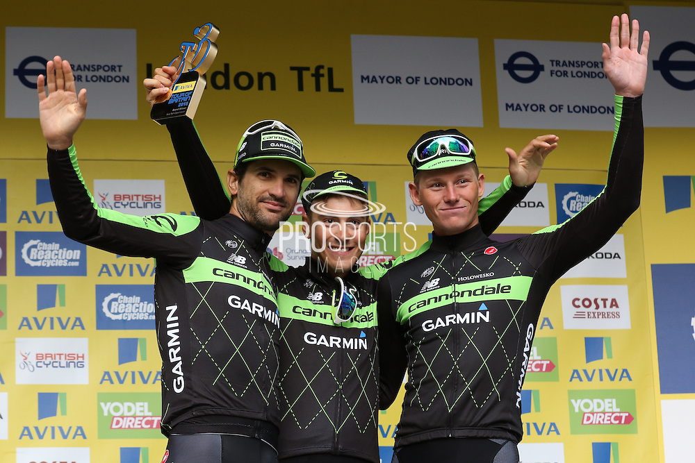 Team Cannondale-Garmin after the London Stage of the Aviva Tour of Britain, Regent Street, London, United Kingdom on 13 September 2015. Photo by Ellie Hoad.
