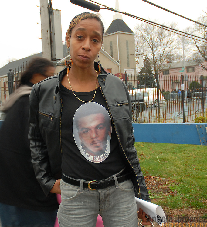 Date: 12/1/06<br /> desk: metro<br /> slug: dorismond<br /> id: 30034277A<br /> <br /> Mourner Carmen Vanenburg of Queens leaves the wake of her friend Sean Bell, 23, (depicted on Vanenburg's shirt) who was killed in a hail of 50 bullets by New York City police officers, at the Community Church of Christ in Queens, New York on December 1, 2006. Bell was killed in the early morning of November 25, 2006 leaving his bachelor party at Club Kalua in Queens, just hours before he as scheduled to marry in the church where his funeral was held.<br /> <br /> photo by Angela Jimenez for The New York Times<br /> photographer contact 917-586-0916