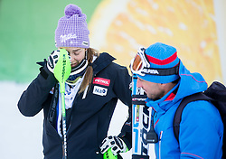 "Maze Tina (SLO) and Andrea Vianello in finish area after the FIS Alpine Ski World Cup 2014/15 5th Ladies' Slalom race named ""Snow Queen Trophy 2015"", on January 4, 2015 in Course Crveni Spust at Sljeme hill, Zagreb, Croatia.  Photo by Vid Ponikvar / Sportida"