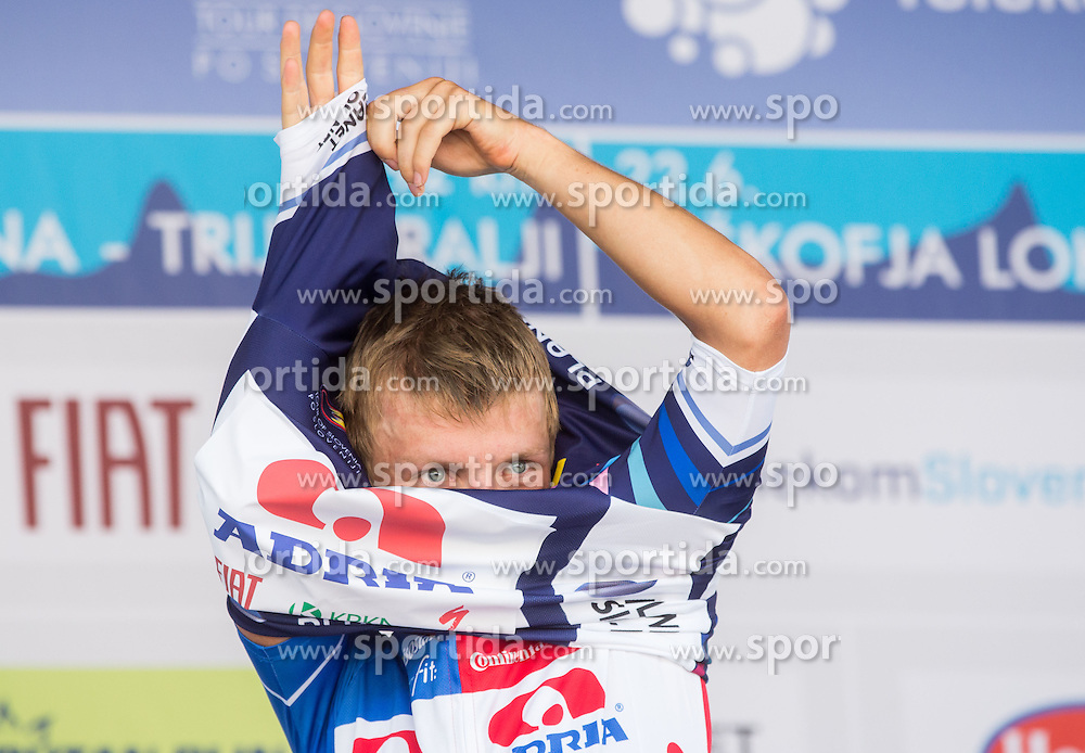 Klemen Stimulak of Slovenia (Team Adria Mobil) in dark blue jersey as the best rider in King of the mountain competition at trophy ceremony after the Stage 4 from Skofja Loka to Novo Mesto (153 km) at 21st Tour of Slovenia cycling race, on June 22, 2014 in Novo mesto, Slovenia. Photo By Vid Ponikvar / Sportida
