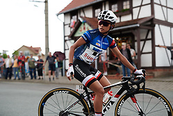Coryn Rivera (USA) sits up as her teammate talks on the radio at Lotto Thuringen Ladies Tour 2018 - Stage 6, a 137.3 km road race starting and finishing in Gotha, Germany on June 2, 2018. Photo by Sean Robinson/velofocus.com