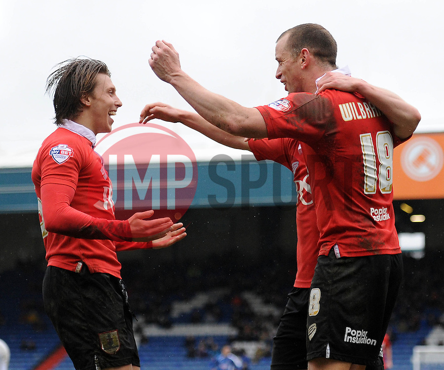 Bristol City's Aaron Wilbraham celebrates his goal with Bristol City's Luke Freeman and Bristol City's Joe Bryan - Photo mandatory by-line: Dougie Allward/JMP - Mobile: 07966 386802 - 03/04/2015 - SPORT - Football - Oldham - Boundary Park - Bristol City v Oldham Athletic - Sky Bet League One