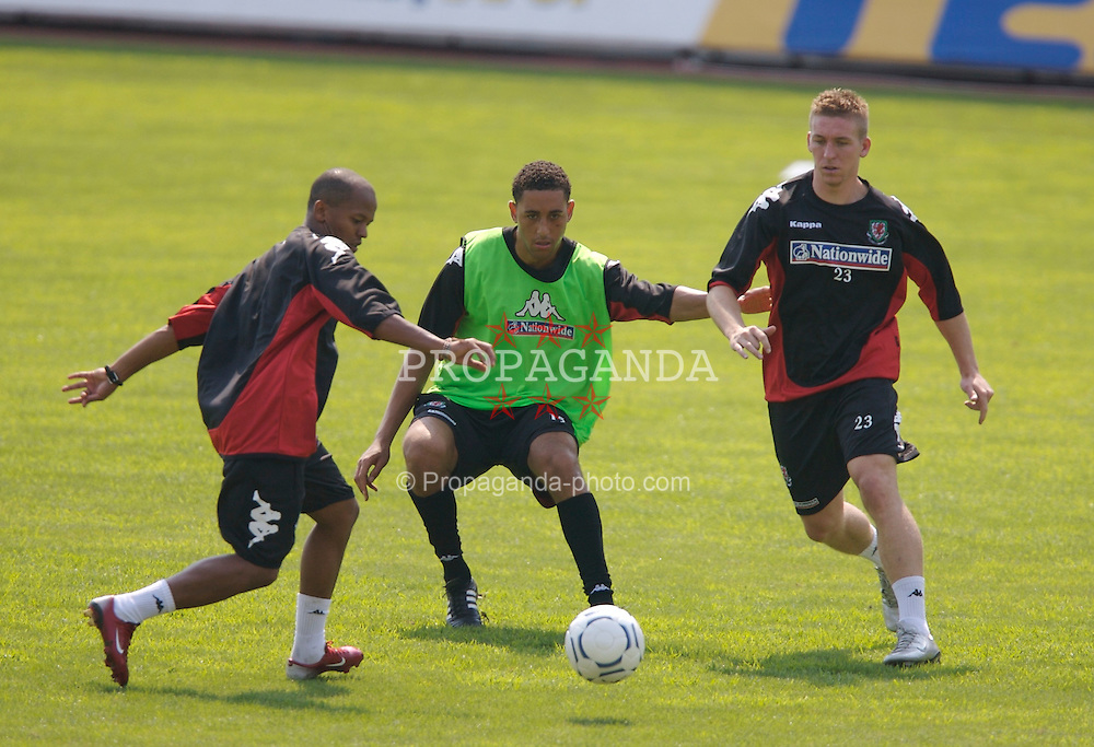 Borgass, Bulgaria - Tuesday, August 21, 2007: Wales' Robert Earnshaw, Lewin Nyatanga and Freddy Eastwood training at the Naftex Stadium ahead of the friendly match against Bulgaria. (Photo by David Rawcliffe/Propaganda)
