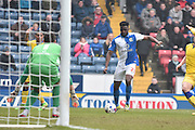 Blackburn Rovers Midfielder, Hope Akpan  crosses during the Sky Bet Championship match between Blackburn Rovers and Leeds United at Ewood Park, Blackburn, England on 12 March 2016. Photo by Mark Pollitt.