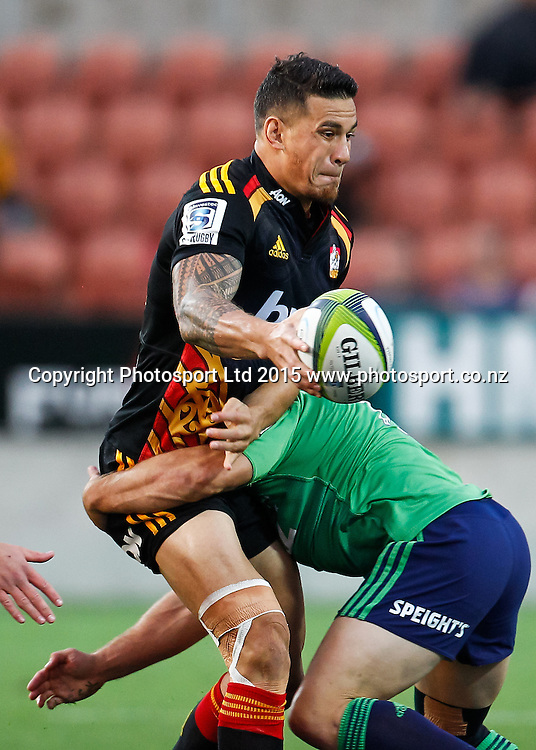 Chief's Sonny Bill Williams in action during the Super 15 Rugby Match - Chiefs v Highlanders, 6 March 2015 at Waikato Stadium, Hamilton, New Zealand on Friday 6 March 2015.  Photo:  Bruce Lim / www.photosport.co.nz