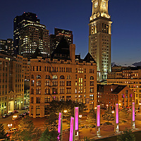 This photography image shows downtown Boston with the Custom House Tower, art installation Light Blades, and the Rose F. Kennedy Greenway near Faneuil Hall Marketplace. Every night, twelve vertical glass and steel sculptures illuminate the Wharf District Parks plaza between Milk and India Streets with joyful colors. This unique system of LED lights is programmed to show up to 16.7 million different colors, along with an array of patterns, speed and intensity. The Custom House Tower was the first real skyscraper in Boston, and a very historic and beautiful building with four illuminated clocks in its elegant spire.<br /> <br /> This Boston night photography picture of the famous skyline buildings is available as museum quality photography prints, canvas prints, acrylic prints or metal prints. Prints may be framed and matted to the individual liking and decorating needs:<br /> <br /> http://juergen-roth.artistwebsites.com/featured/downtown-boston-with-the-custom-house-tower-juergen-roth.html<br /> <br /> Good light and happy photo making! <br /> <br /> Juergen <br /> www.rothgalleries.com <br /> www.exploringthelight.com<br /> http://whereintheworldisjuergen.blogspot.com<br /> @NatureFineArt<br /> https://www.facebook.com/naturefineart