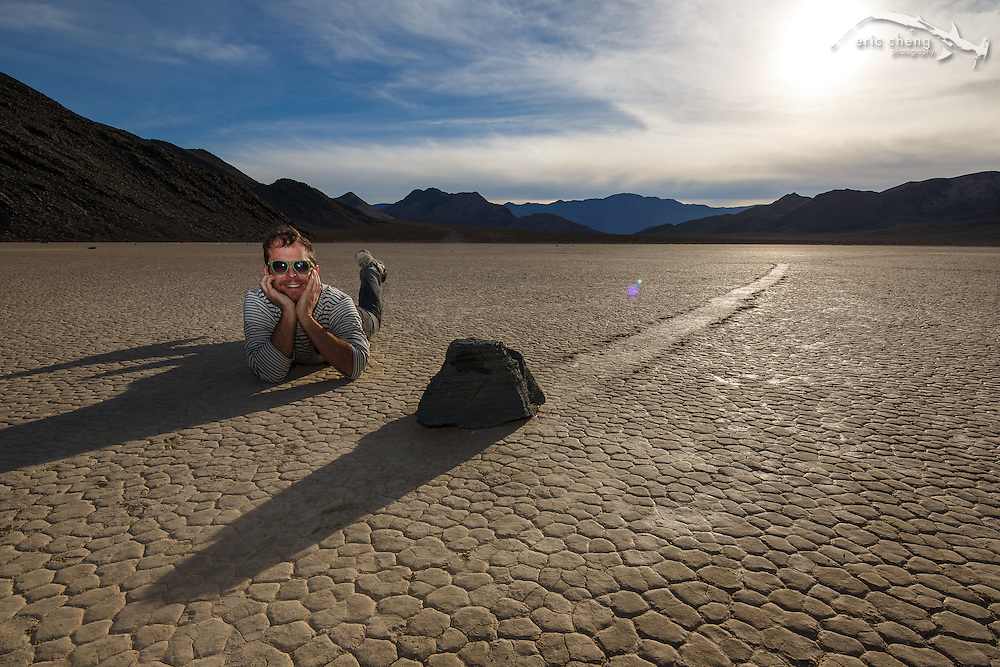 Dan Kitchens with a moving rock at The Racetrack in Death Valley