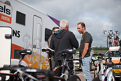 Boels-Dolmans Cycling Team DS Danny Stam chats to team staff before the Aviva Women's Tour 2016 - Stage 1. A 138.5 km road race from Southwold to Norwich, UK on June 15th 2016.