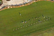 Aerial view of the Ocean Course driving range in Kiawah Island, SC.