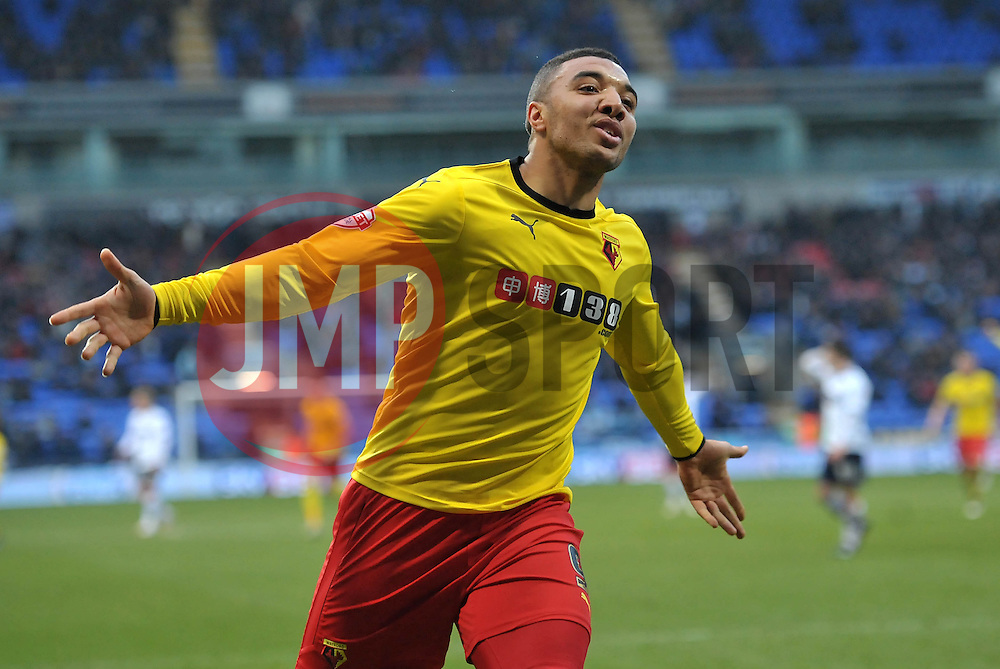 Watford's Troy Deeney  celebrates scoring the winning goal - Photo mandatory by-line: Richard Martin-Roberts/JMP - Mobile: 07966 386802 - 14/02/2014 - SPORT - Football - Bolton - Macron Stadium - Bolton Wanderers v Watford - Sky Bet Championship