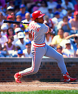 CHICAGO - CIRCA 1990:  Barry Larkin of the Cincinnati Reds bats against the Chicago Cubs during an MLB game at Wrigley Field in Chicago, Illinois.  Larkin played for the Reds from 1986-2004.   (Photo by Ron Vesely)   Subject: Barry Larkin.