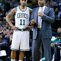 28 November 2012: Boston Celtics head coach Doc Rivers talks to Boston Celtics shooting guard Courtney Lee (11) during the Brooklyn Nets 95-83 victory over the Boston Celtics at the TD Garden, Boston, Massachusetts, USA.