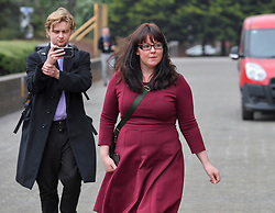 Pictured: Natalie McGarry leaves court.<br /> <br /> <br /> Former SNP MP Natalie McGarry appeared at Glasgow Sheriff Court at what was supposed to be the start of her trial, where she however pled quilty to embezzling funds from independence campaign organisations.<br /> <br /> © Dave Johnston / EEm