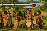 Papasena villagers welcome expedition members upon arrival by Cesna.