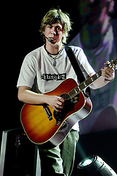 Busted play their biggest venue of their career to date at The Hallam FM Arena 2004  James Bourne on acoustic guitar <br /> <br /> image copyright Paul David Drabble<br /> 7th March 2004