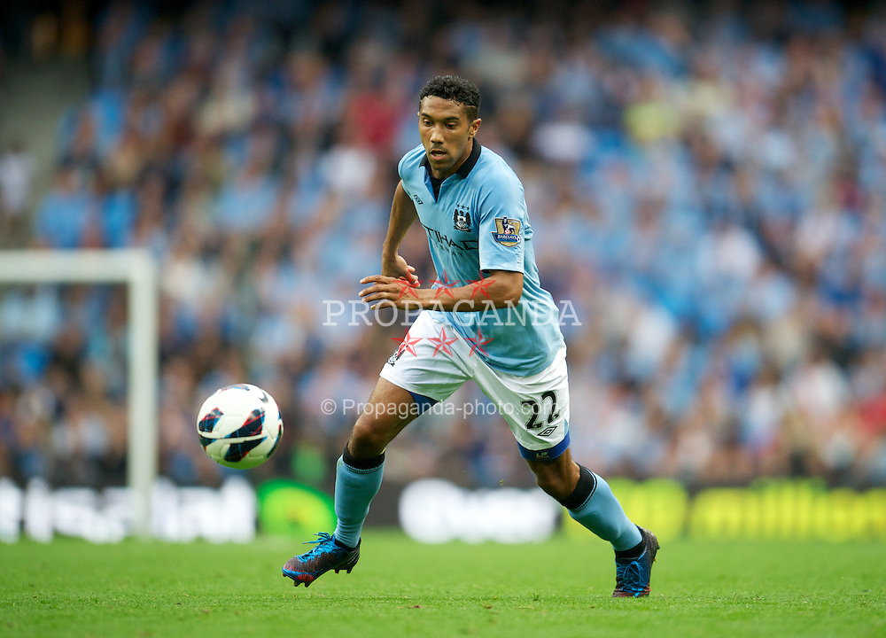 MANCHESTER, ENGLAND - Sunday, August 19, 2012: Manchester City's Gael Clichy in action against Southampton during the Premiership match at the City of Manchester Stadium. (Pic by David Rawcliffe/Propaganda)
