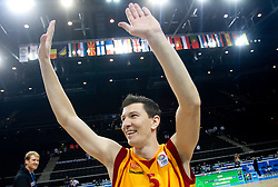 Vlado Ilievski of Macedonia celebrates after the basketball game between National basketball teams of F.Y.R. of Macedonia and Lithuania at Quarterfinals of FIBA Europe Eurobasket Lithuania 2011, on September 14, 2011, in Arena Zalgirio, Kaunas, Lithuania. Macedonia defeated Lithuania 67-65. (Photo by Vid Ponikvar / Sportida)