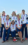 OLYMPIC VILLAGE. Stratford, East London, Great Britain,..Description: GB Rowings Three Women's Gold medal crews/Athletes..GBR W2X, GBR W2- and GBR LW2X. pose with their medals at the International Plaza, Olympic Village Crews Back row left to right Helen GLOVER, Anna WATKINS, Heather STANNING, Front, left, Sophie HOSKING, Katherine GRAINGER and Kat COPELAND...2012 GB Rowing Medal Winners. .. ..09:18:29  Saturday  11/08/2012 [Mandatory Credit: Peter Spurrier/Intersport Images]