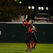 02 March 2018: San Diego State softball closes out day two of the San Diego Classic I at Aztec Softball Stadium with a night cap against CSU Northridge. San Diego State outfielder Megan Smith (1) camps under a pop fly for an out in the second inning. The Aztecs dropped a close game 2-0 to the Matadors. <br /> More game action at sdsuaztecphotos.com