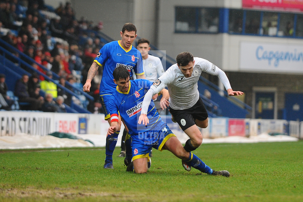 TELFORD COPYRIGHT MIKE SHERIDAN Arlen Birch of Telford is fouled during the Vanarama Conference North fixture between AFC Telford United and Alfreton Town at the New Bucks Head Stadium on Thursday, December 26, 2019.<br /> <br /> Picture credit: Mike Sheridan/Ultrapress<br /> <br /> MS201920-036