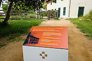 Visitor Center and sign at Scorpion Ranch, Santa Cruz Island, Channel Islands National Park, California USA