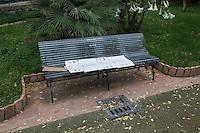 CALTANISSETTA, ITALY - 28 NOVEMBER 2014: A cardboard used by an asylum seeker in a public park in Caltanissetta, Italy, on November 28th 2014.