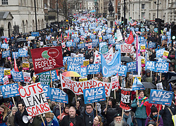 © Licensed to London News Pictures. 03/02/2018. London, UK. Thousands take part in the People's Assembly - 'emergency' NHS demonstration in Whitehall. Photo credit: Peter Macdiarmid/LNP