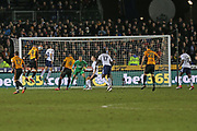 Newport  Padraig Amond (9) scores a goal 1-0 first half during the The FA Cup 4th round match between Newport County and Tottenham Hotspur at Rodney Parade, Newport, Wales on 27 January 2018. Photo by Gary Learmonth.