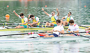 Munich, GERMANY,  Men's four final. AUS M4-. Bow William LOCKWOOD, Samuel LOCH, Nicolas PURNELL and Joshua DUNKLEY-SMITH. 2010 FISA World Cup. Munich Olympic Rowing Course, Sunday  20/06/2010   [Mandatory Credit Peter Spurrier/ Intersport Images]