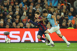 Manchester City's Martin Demichelis chases down Barcelona's Lionel Messi - Photo mandatory by-line: Dougie Allward/JMP - Mobile: 07966 386802 - 18/03/2015 - SPORT - Football - Barcelona - Nou Camp - Barcelona v Manchester City - UEFA Champions League - Round 16 - Second Leg