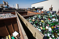 Glass bottles in recycling centre