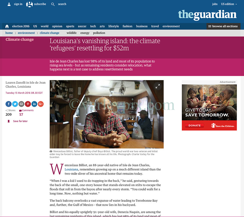 15 March 2016. Story as posted in the Guardian.<br /> http://www.theguardian.com/environment/2016/mar/15/louisiana-isle-de-jean-charles-island-sea-level-resettlement<br /> <br /> 04 March 2016. Isle de Jean Charles, Louisiana.<br /> Vanishing land. First climate refugees in the USA. Isle de Jean Charles Band of Biloxi-Chitimacha Indians.<br /> Scenes from the disappearing bayou where the tribe has recently been awarded $52 million to resettle on higher ground as more and more of their land is consumed by erosion from the Gulf of Mexico.<br /> Photo©; Charlie Varley/varleypix.com