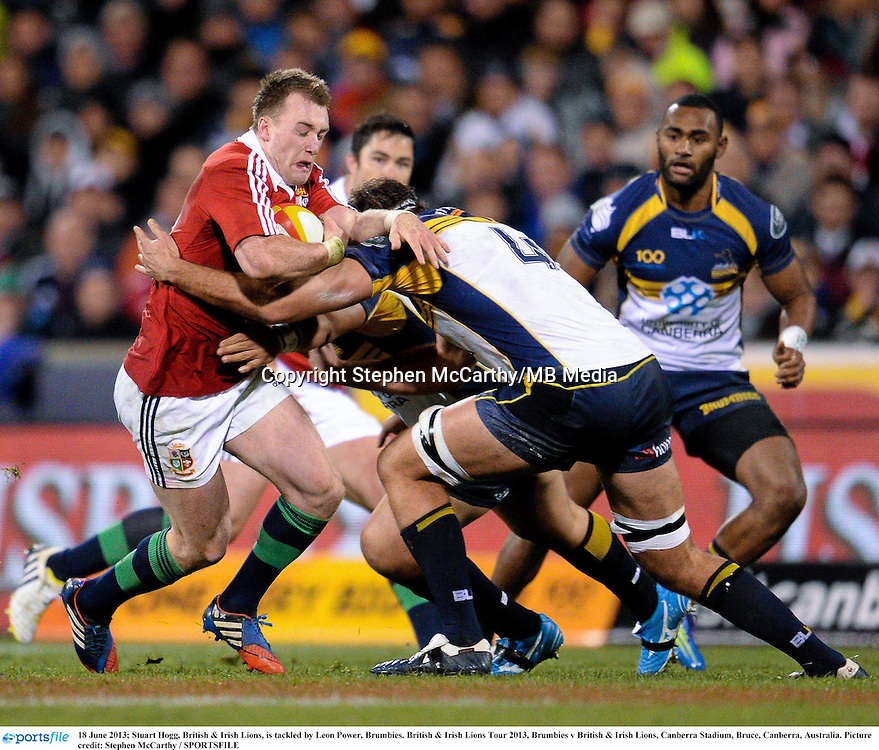 18 June 2013; Stuart Hogg, British & Irish Lions, is tackled by Leon Power, Brumbies. British & Irish Lions Tour 2013, Brumbies v British & Irish Lions, Canberra Stadium, Bruce, Canberra, Australia. Picture credit: Stephen McCarthy / SPORTSFILE