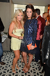 Left to right, MIJANOU DILKS and ROSANNA FALCONER at Henry Conway's 31st birthday party held at the Pont St Restaurant, Belgraves Hotel, London on 12th July 2014.