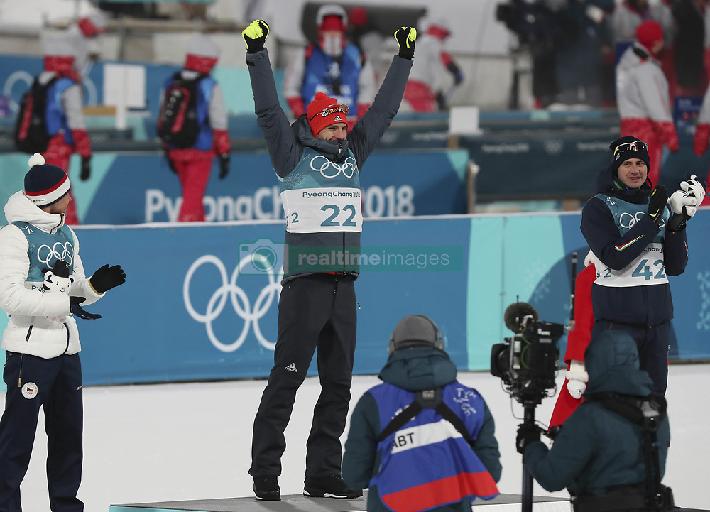 February 11, 2018 - Pyeongchang, GANGWON, SOUTH KOREA - Feb 11, 2018-Pyeongchang, South Korea-Arnd PEIFFER of Germany win ceremony after match during an Olympic Biathlon Mens Sprint 10Km at Biathlon Center in Pyeongchang, South Korea. (Credit Image: © Gmc via ZUMA Wire)