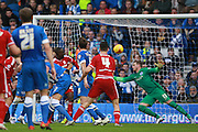 Middlesbrough FC midfielder Albert Adomah scores the second goal during the Sky Bet Championship match between Brighton and Hove Albion and Middlesbrough at the American Express Community Stadium, Brighton and Hove, England on 19 December 2015. Photo by Bennett Dean.