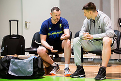 Rado Trifunovic, head coach with Gasper Vidmar during practice session of Slovenian National basketball team before FIBA Basketball World Cup China 2019 Qualifications against Belarus, on November 20, 2017 in Arena Stozice, Ljubljana, Slovenia. Photo by Vid Ponikvar / Sportida
