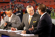ESPN football analysts (L-R) Stuart Scott, Matt Millen, and Steve Young take a break on the set of ESPN Monday Night Countdown during the Washington Redskins NFL week 10 football game against the Philadelphia Eagles on Monday, November 15, 2010 in Landover, Maryland. The Eagles won the game 59-28. (©Paul Anthony Spinelli)