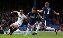 Jason Cummings of Peterborough United in action with Ben Coker of Southend United - Mandatory by-line: Joe Dent/JMP - 08/09/2018 - FOOTBALL - Roots Hall - Southend-on-Sea, England - Southend United v Peterborough United - Sky Bet League One